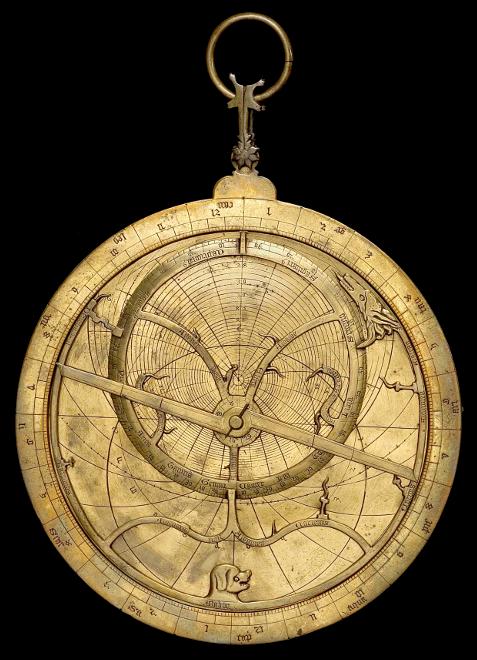 A brass medieval astrolabe