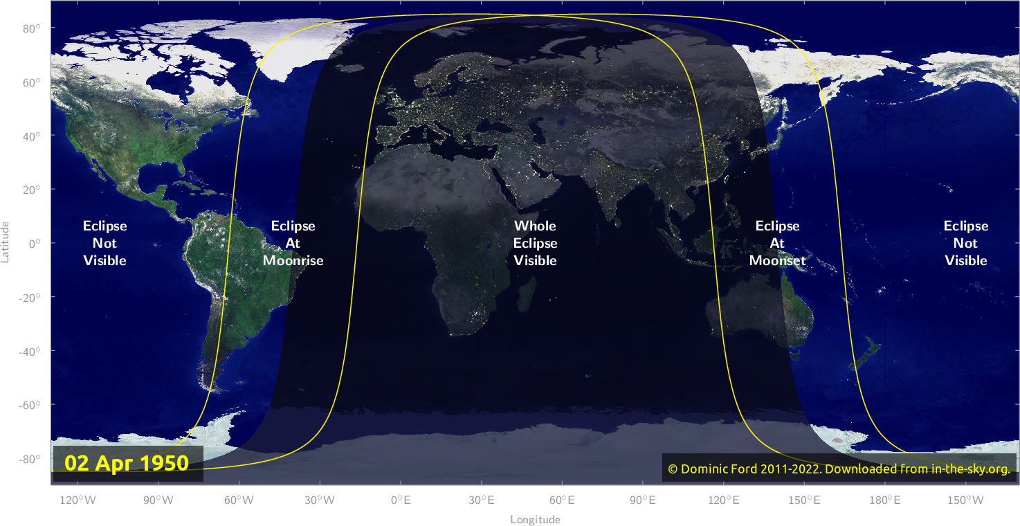 Map of where the eclipse of April 1950 will be visible.