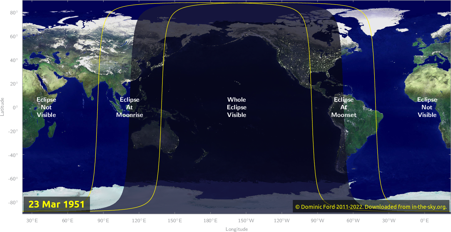Map of where the eclipse of March 1951 will be visible.