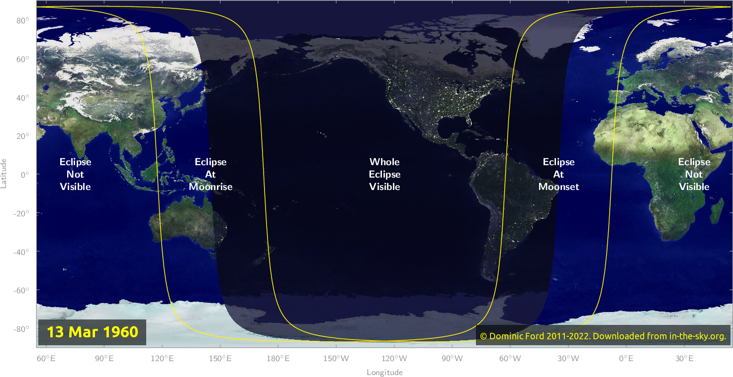 Map of where the eclipse of March 1960 will be visible.
