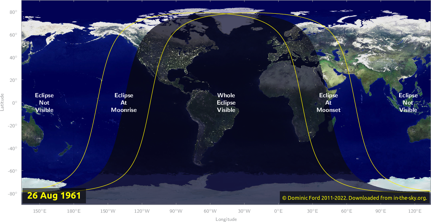 Map of where the eclipse of August 1961 will be visible.