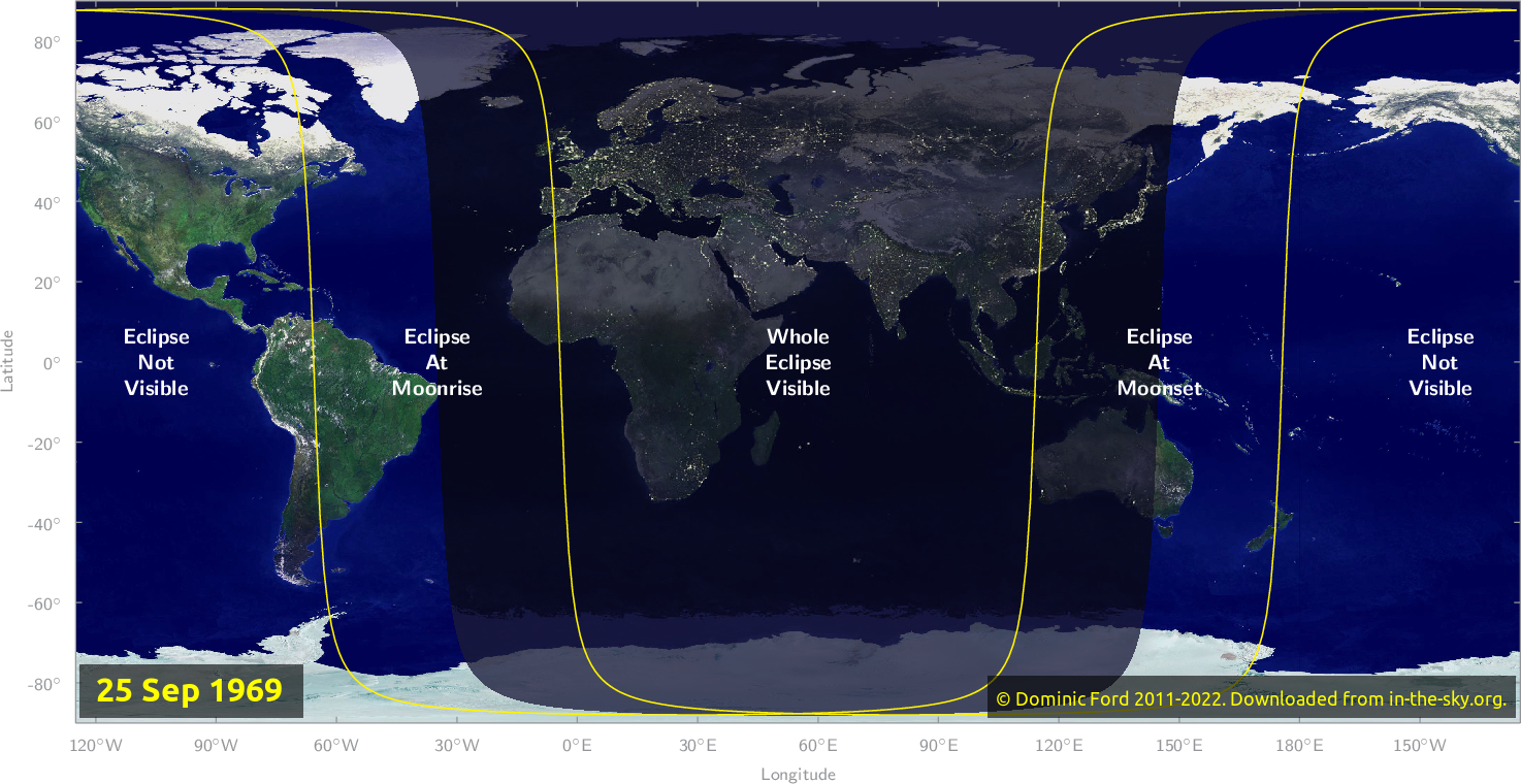 Map of where the eclipse of September 1969 will be visible.