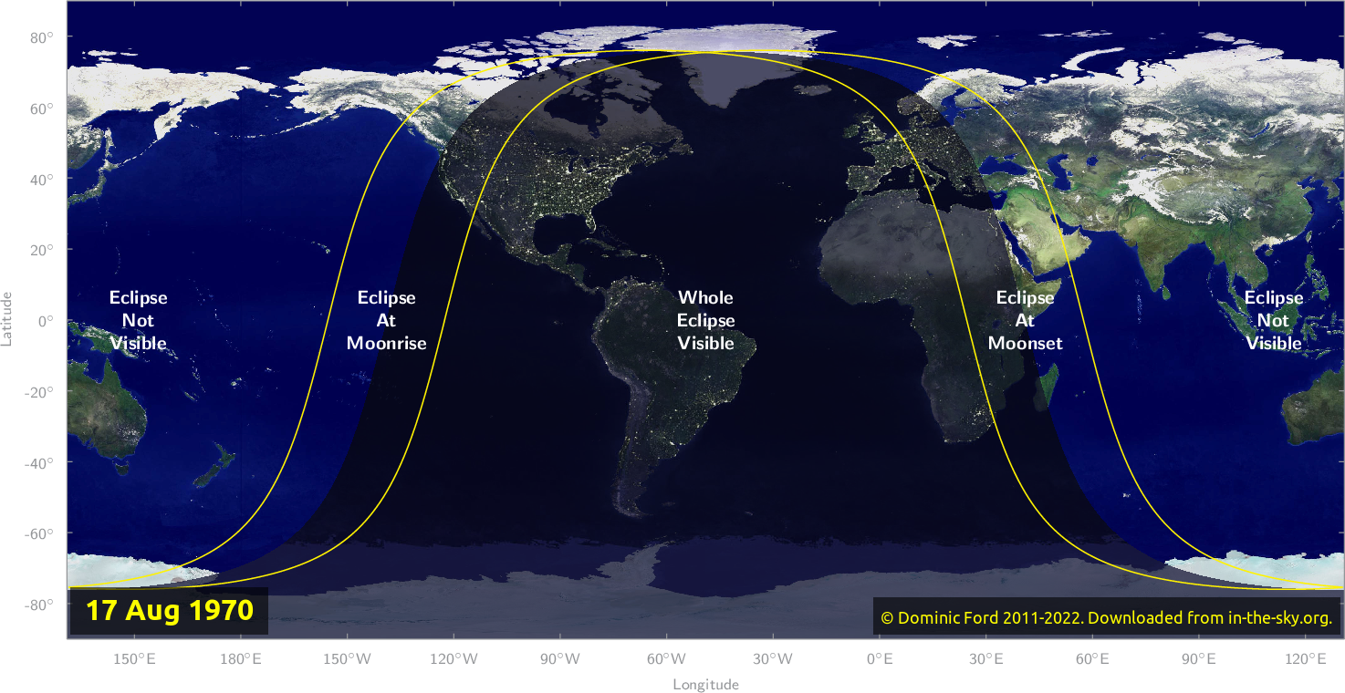Map of where the eclipse of August 1970 will be visible.