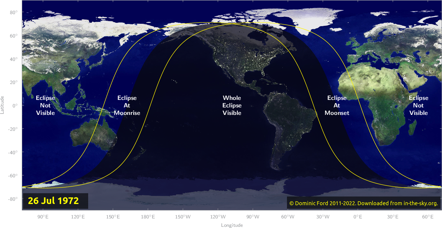 Map of where the eclipse of July 1972 will be visible.