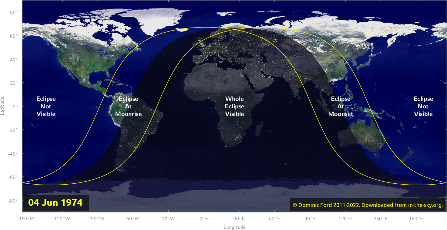 Map of where the eclipse of June 1974 will be visible.