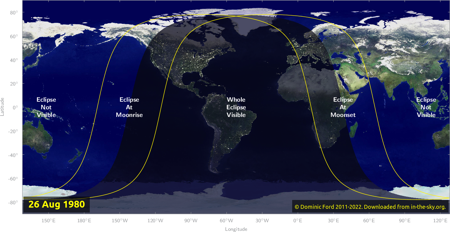 Map of where the eclipse of August 1980 will be visible.