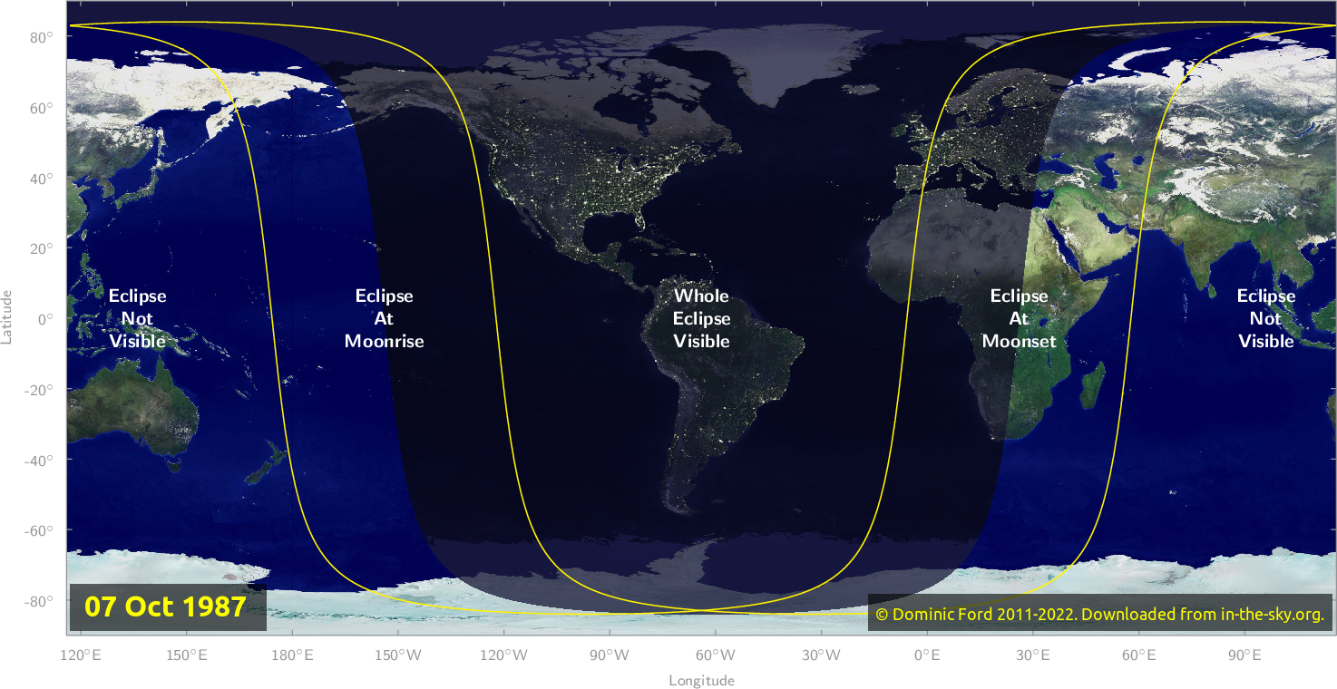 Map of where the eclipse of October 1987 will be visible.