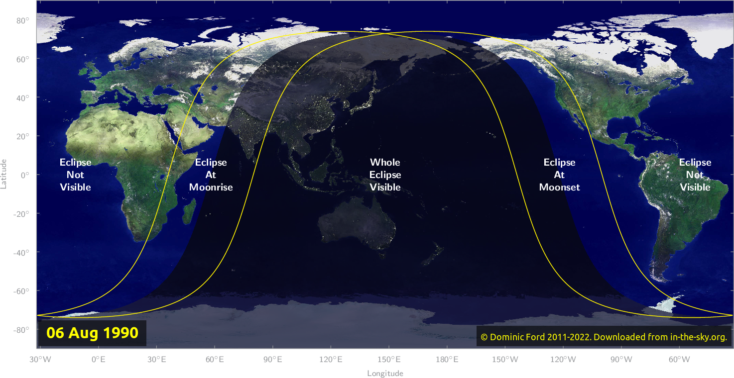 Map of where the eclipse of August 1990 will be visible.