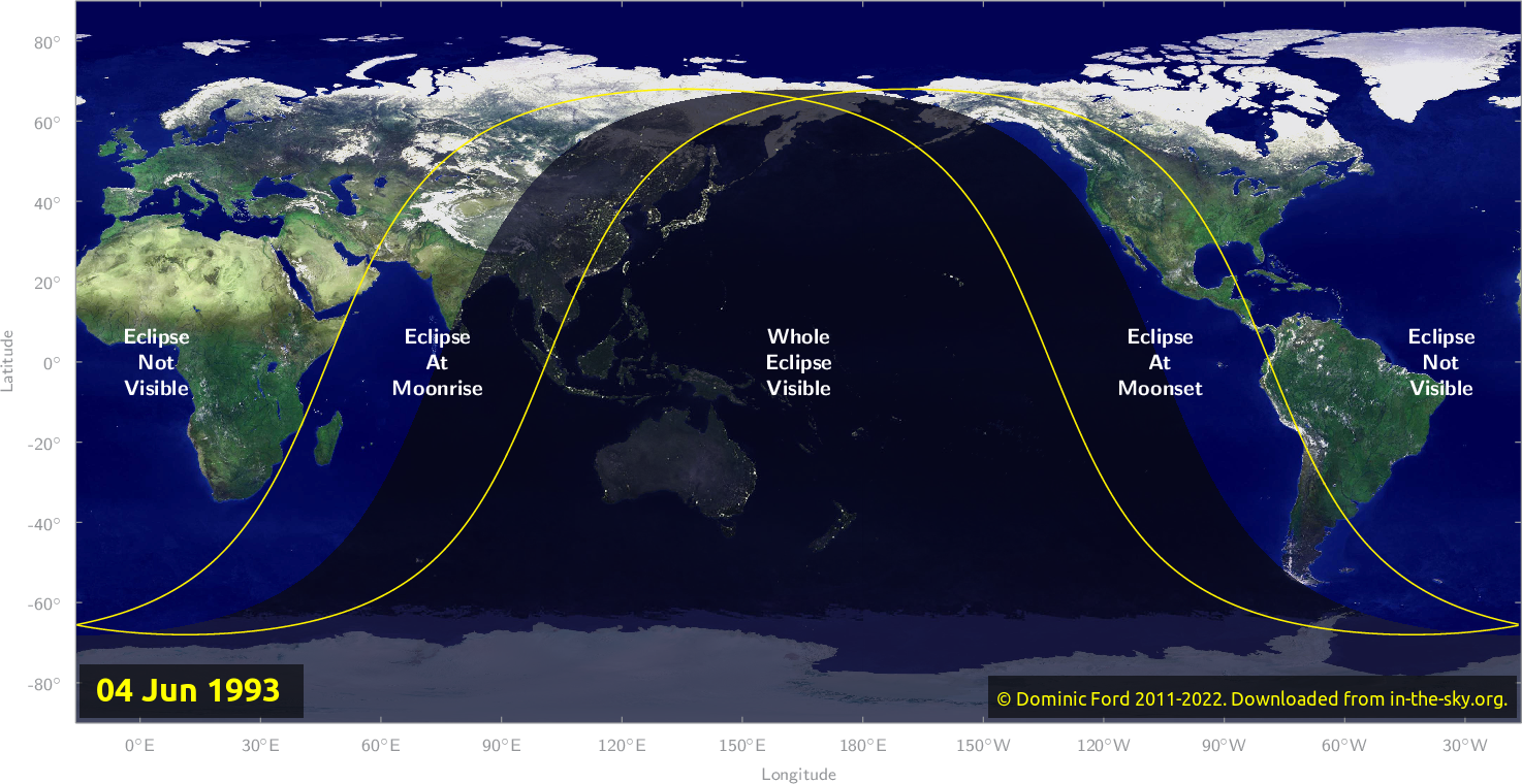 Map of where the eclipse of June 1993 will be visible.