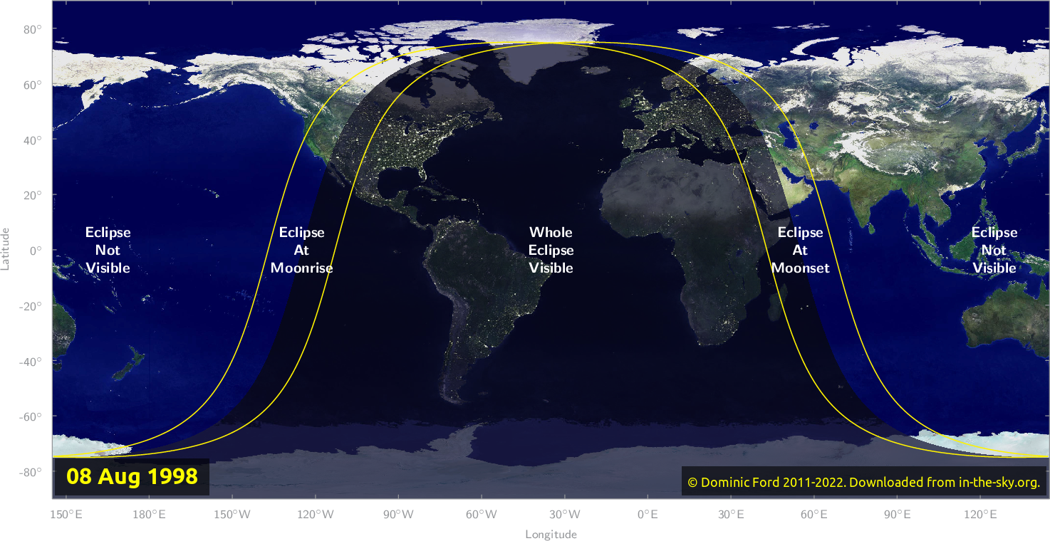 Map of where the eclipse of August 1998 will be visible.