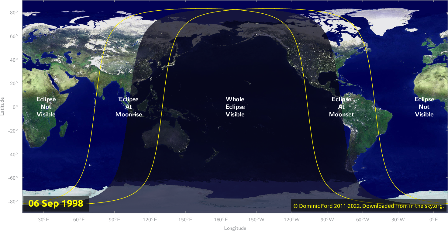 Map of where the eclipse of September 1998 will be visible.