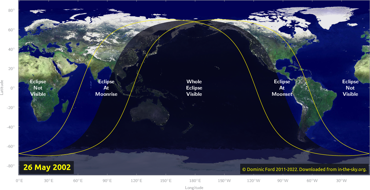 Map of where the eclipse of May 2002 will be visible.