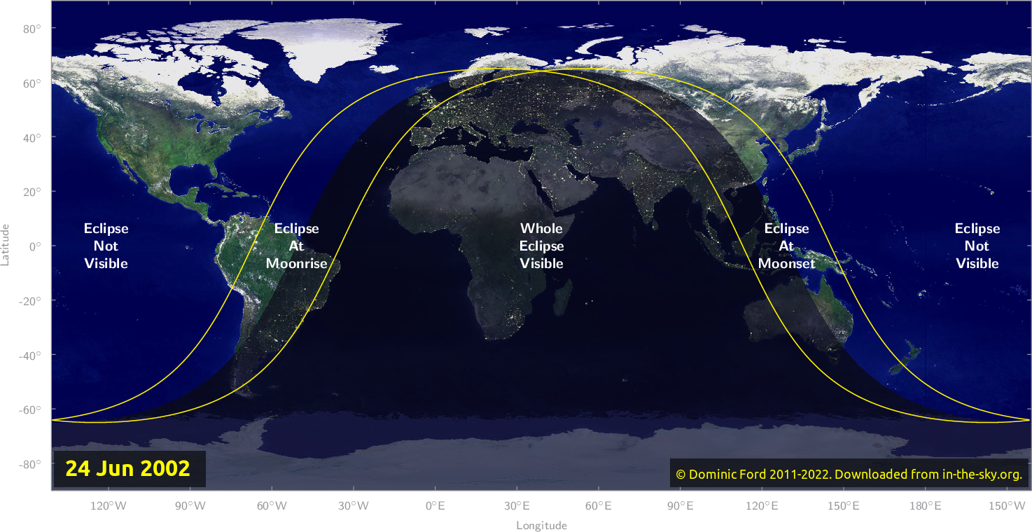 Map of where the eclipse of June 2002 will be visible.