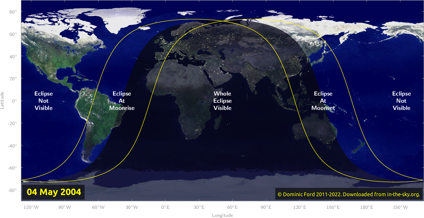 Map of where the eclipse of May 2004 will be visible.