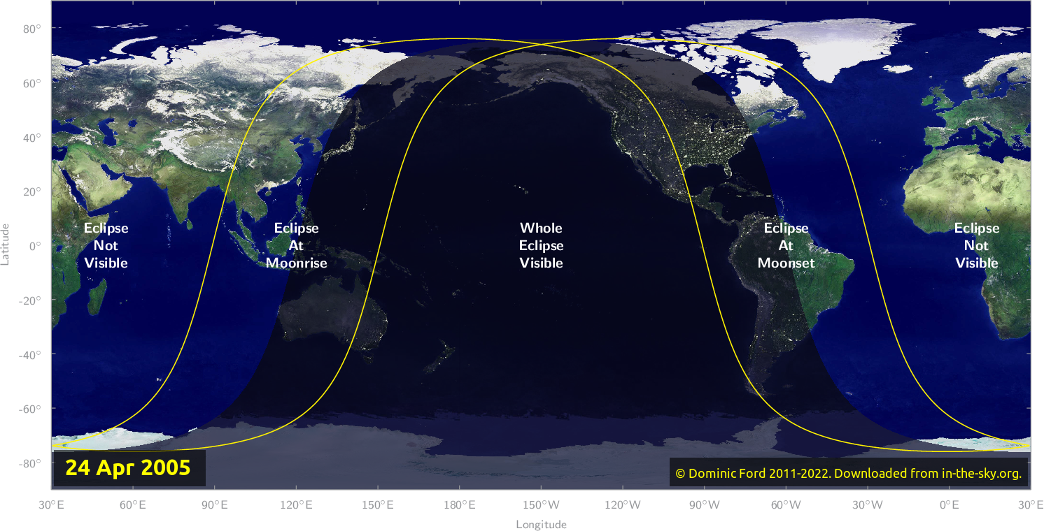 Map of where the eclipse of April 2005 will be visible.