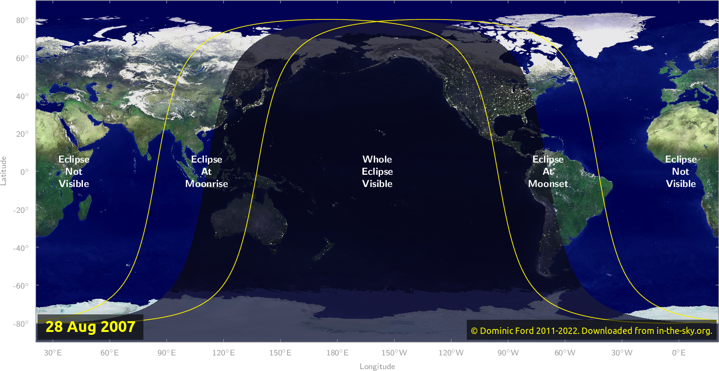 Map of where the eclipse of August 2007 will be visible.