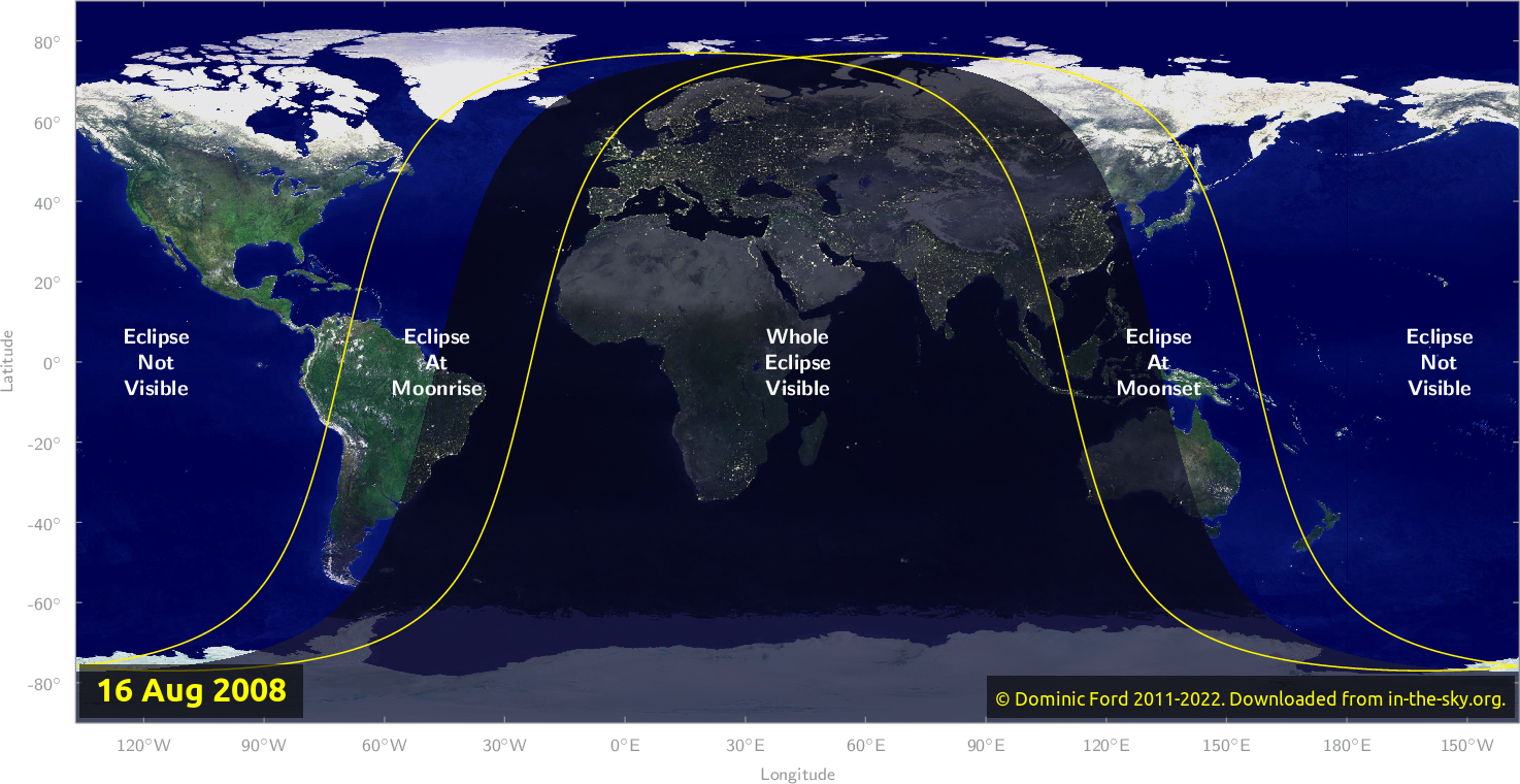 Map of where the eclipse of August 2008 will be visible.