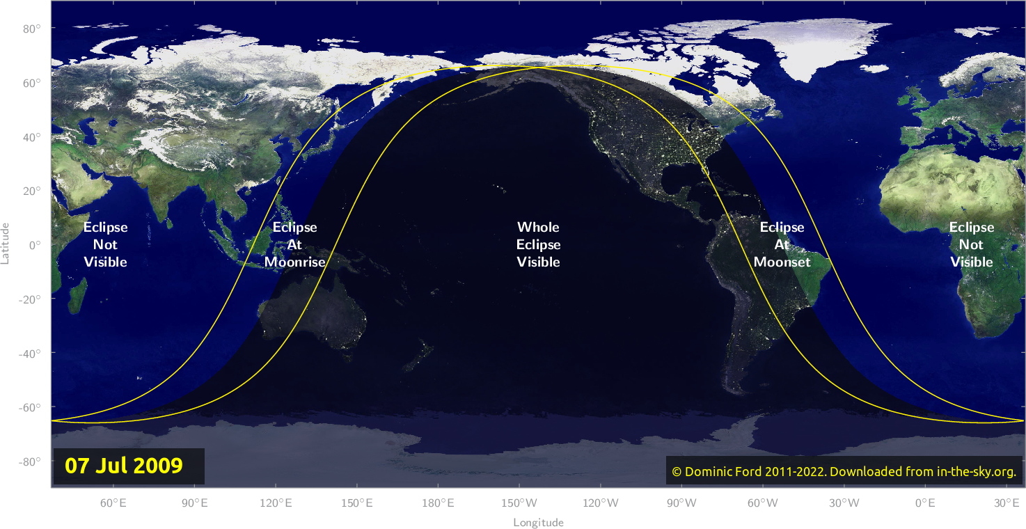 Map of where the eclipse of July 2009 will be visible.