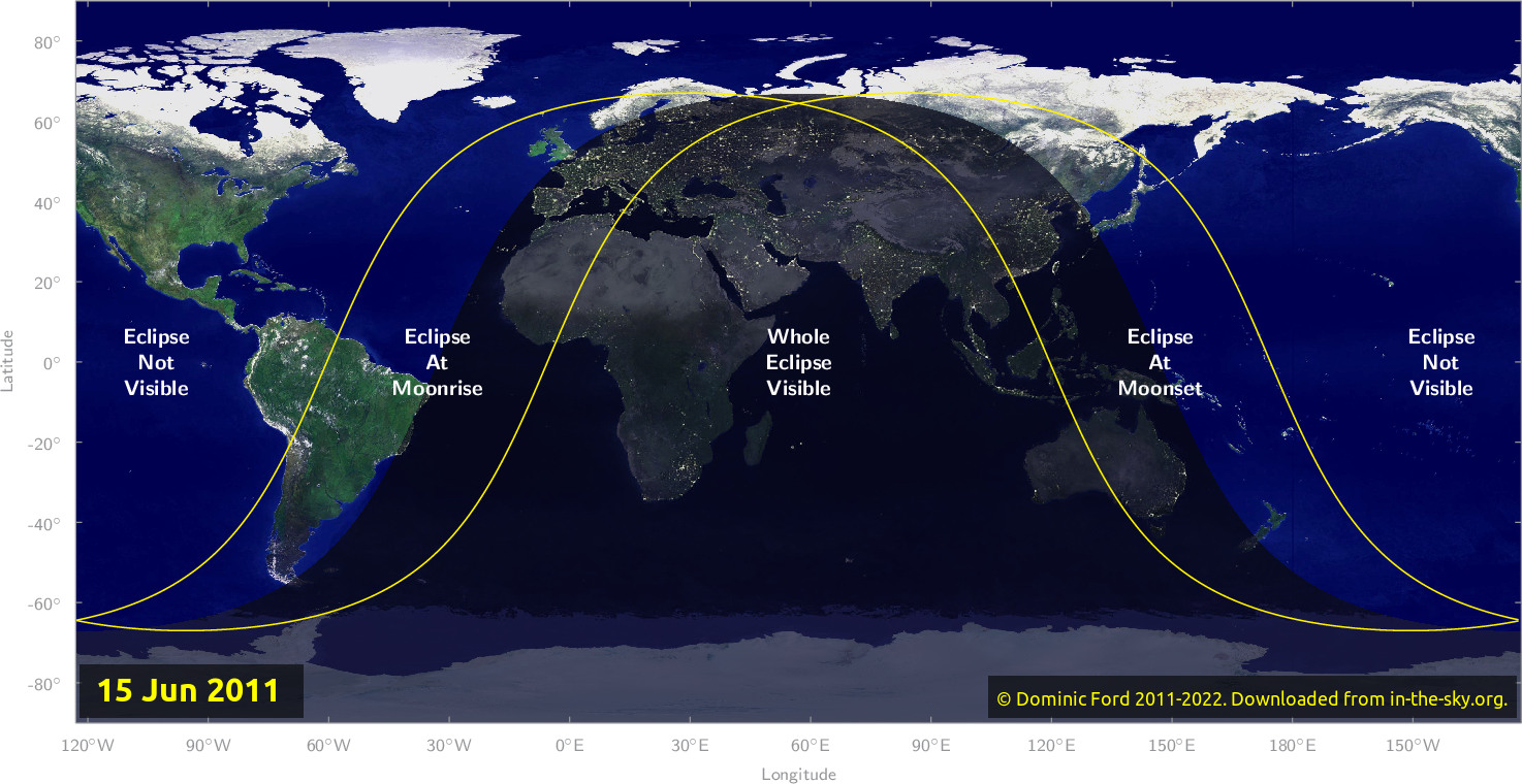 Map of where the eclipse of June 2011 will be visible.