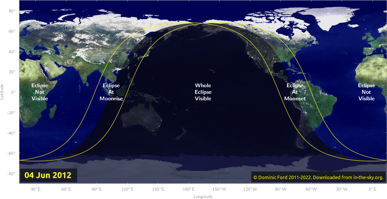 Map of where the eclipse of June 2012 will be visible.