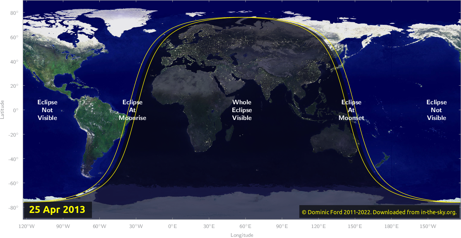 Map of where the eclipse of April 2013 will be visible.