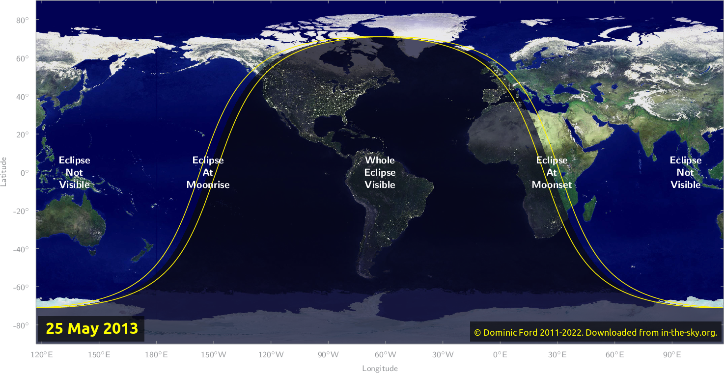 Map of where the eclipse of May 2013 will be visible.