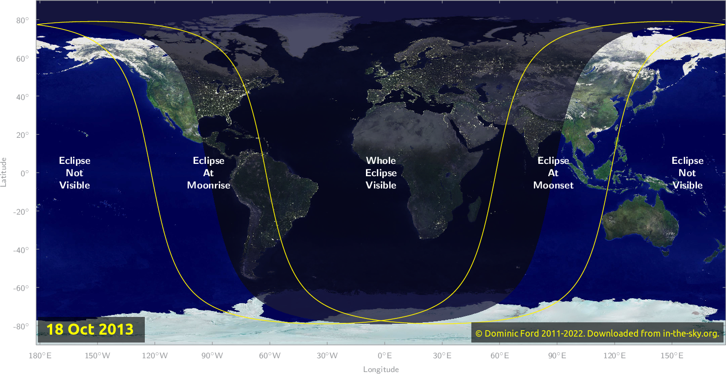 Map of where the eclipse of October 2013 will be visible.