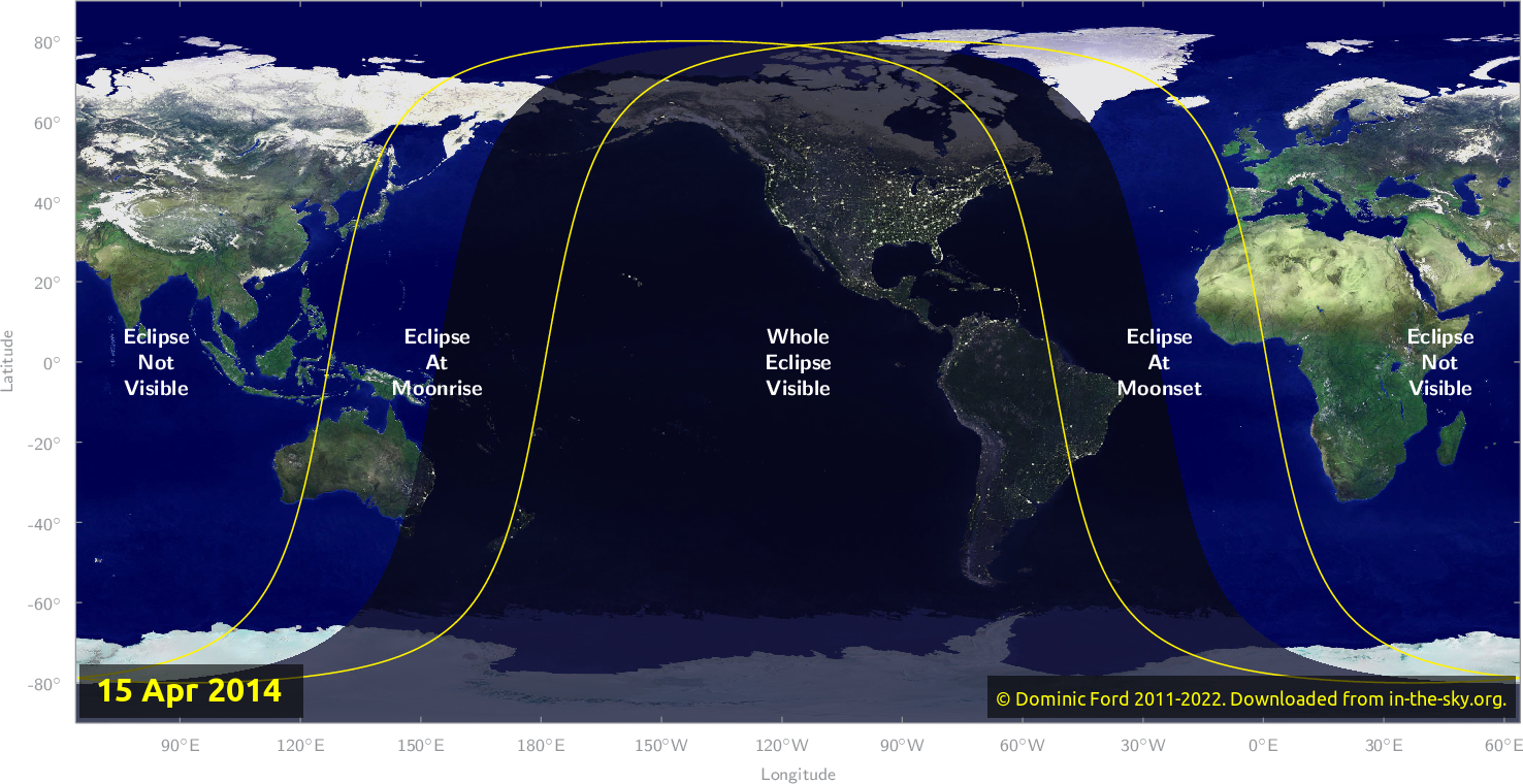 Map of where the eclipse of April 2014 will be visible.