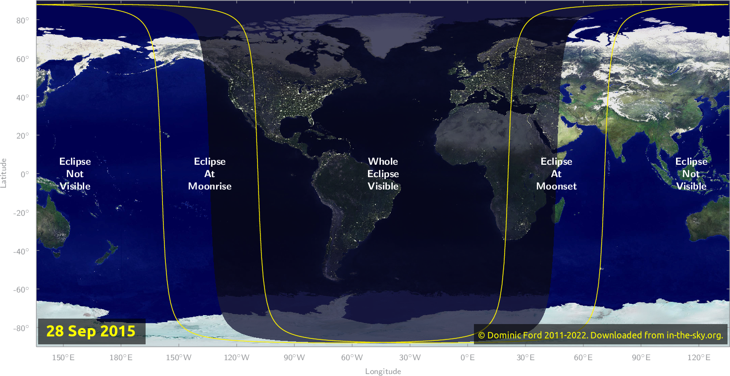 Map of where the eclipse of September 2015 will be visible.