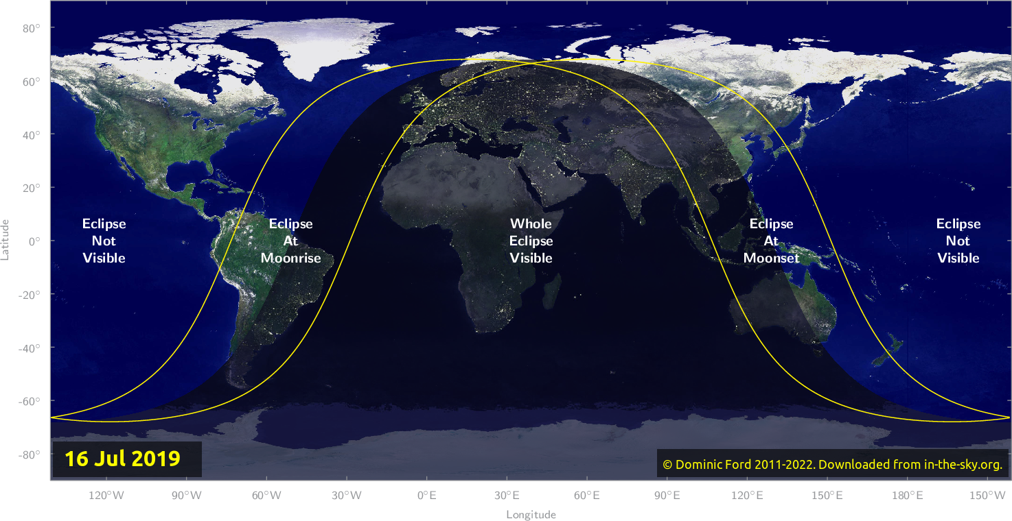 Map of where the eclipse of July 2019 will be visible.