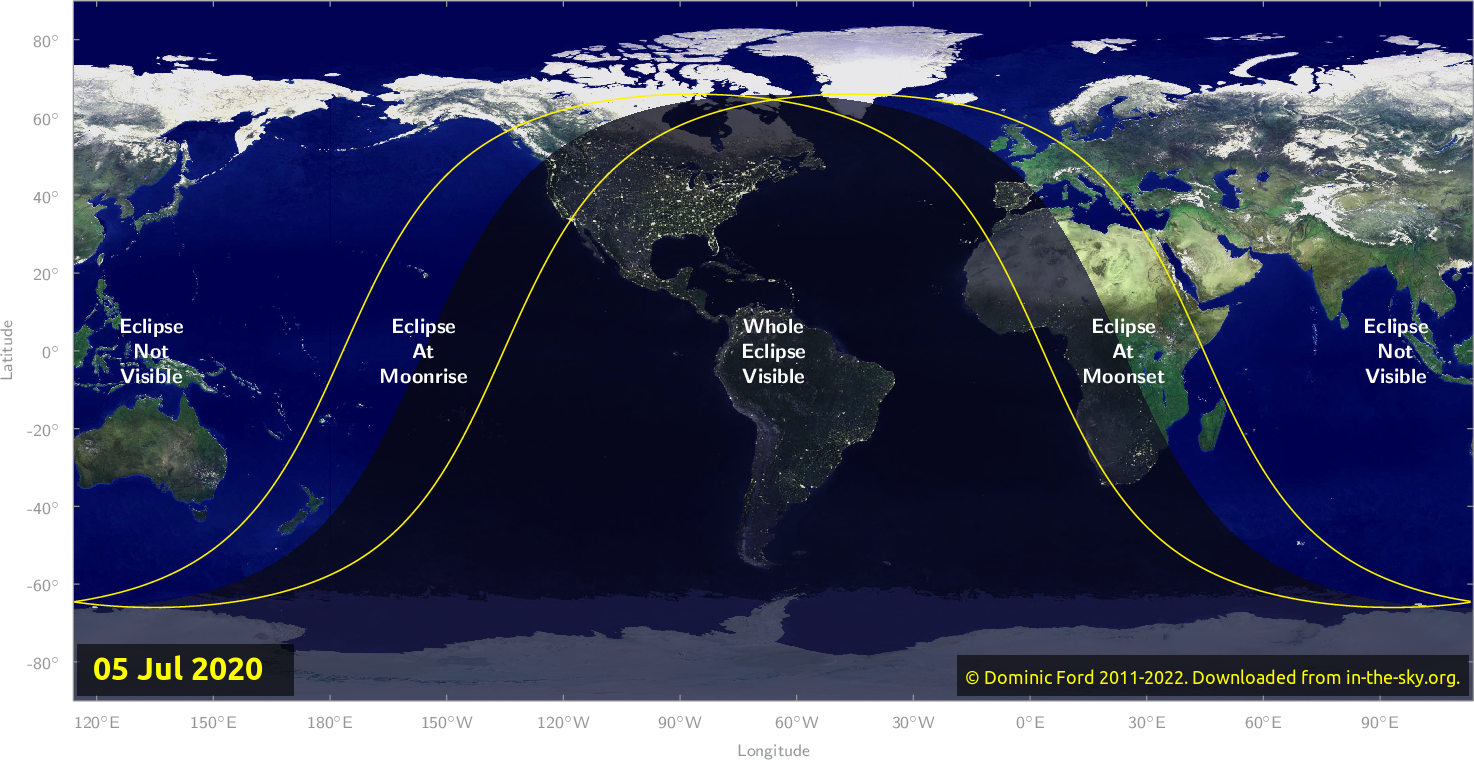 Map of where the eclipse of July 2020 will be visible.