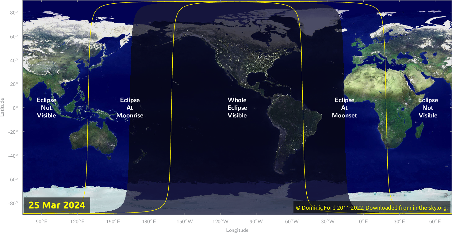 Map of where the eclipse of March 2024 will be visible.