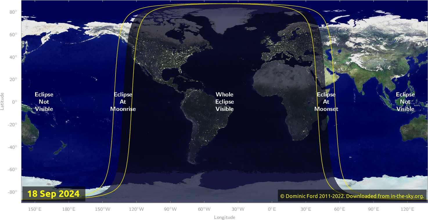 Map of where the eclipse of September 2024 will be visible.