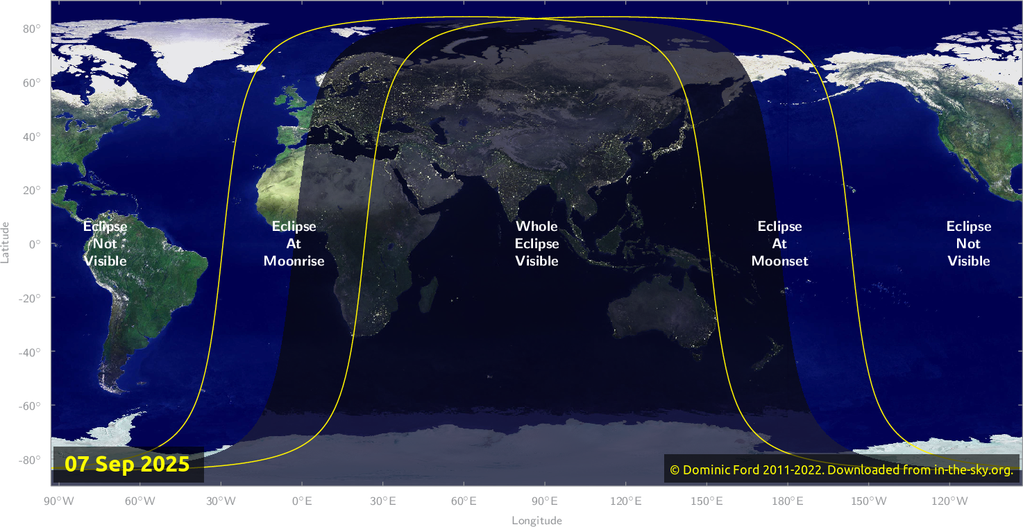 Map of where the eclipse of September 2025 will be visible.