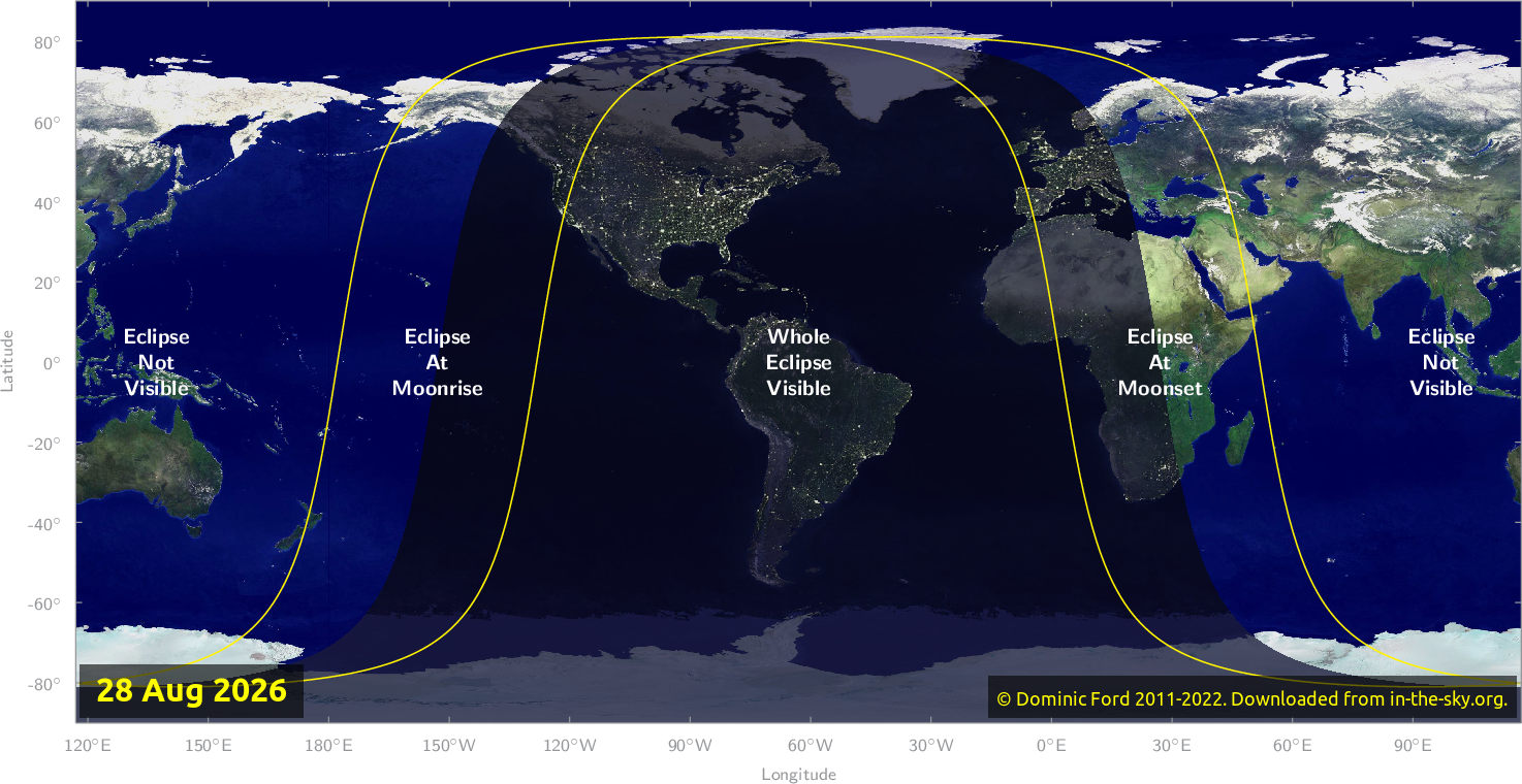Map of where the eclipse of August 2026 will be visible.