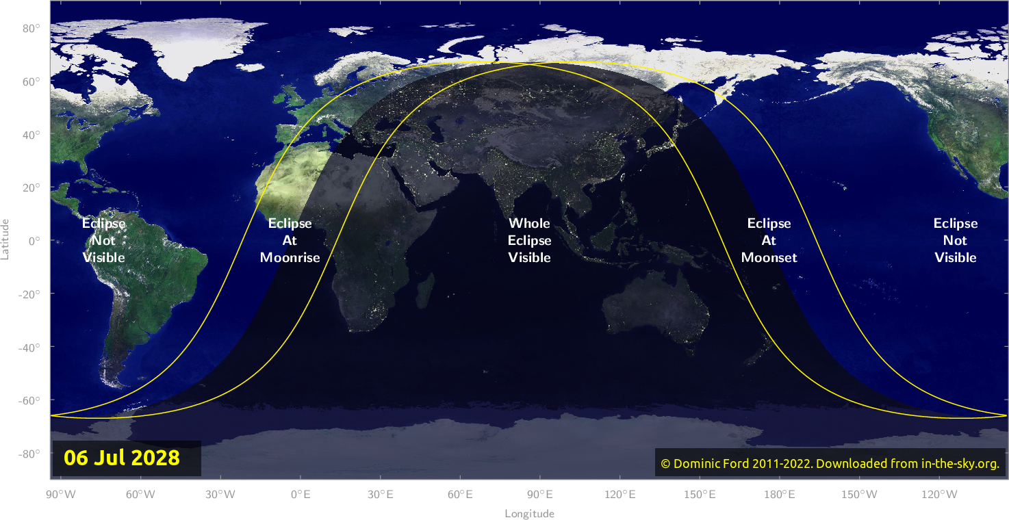 Map of where the eclipse of July 2028 will be visible.