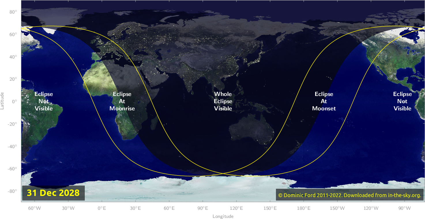 Map of where the eclipse of December 2028 will be visible.