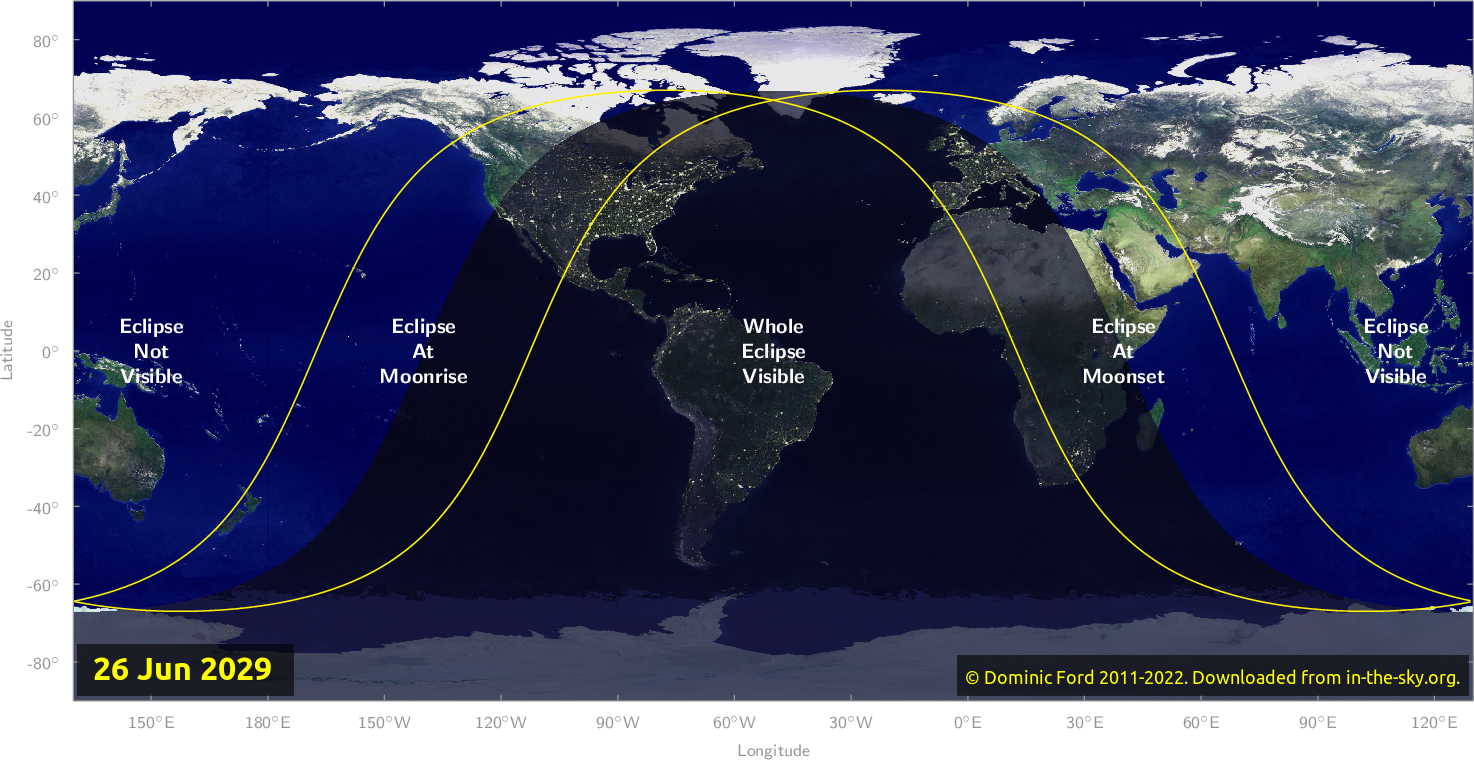 Map of where the eclipse of June 2029 will be visible.