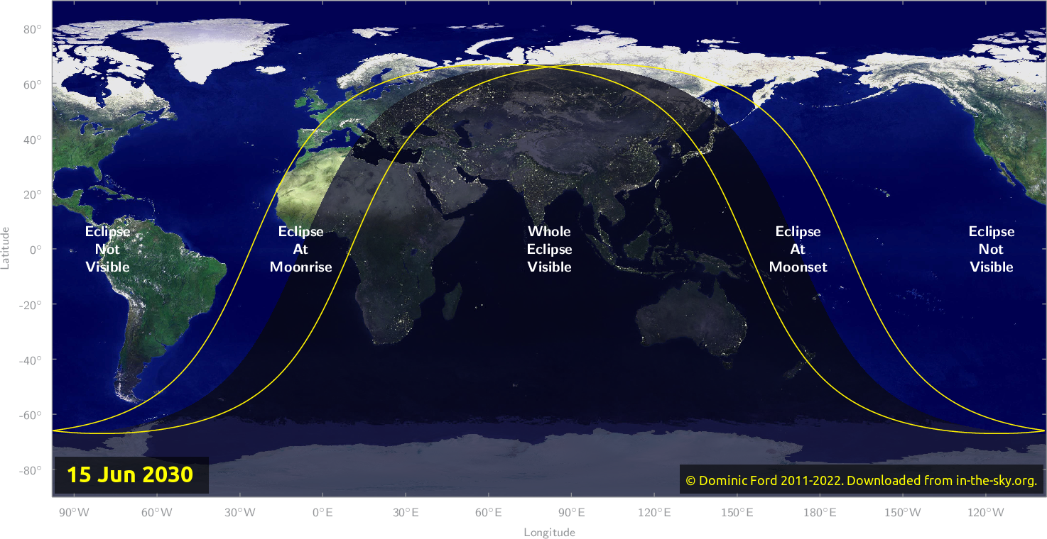 Map of where the eclipse of June 2030 will be visible.