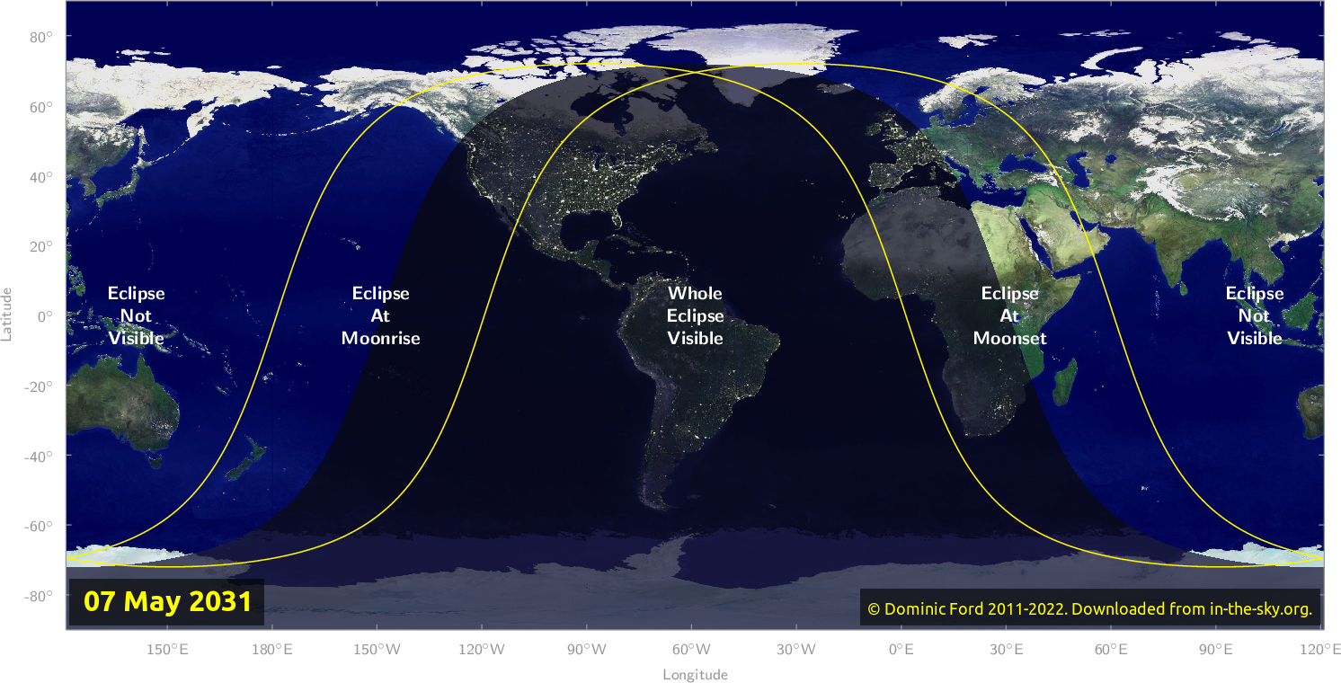 Map of where the eclipse of May 2031 will be visible.
