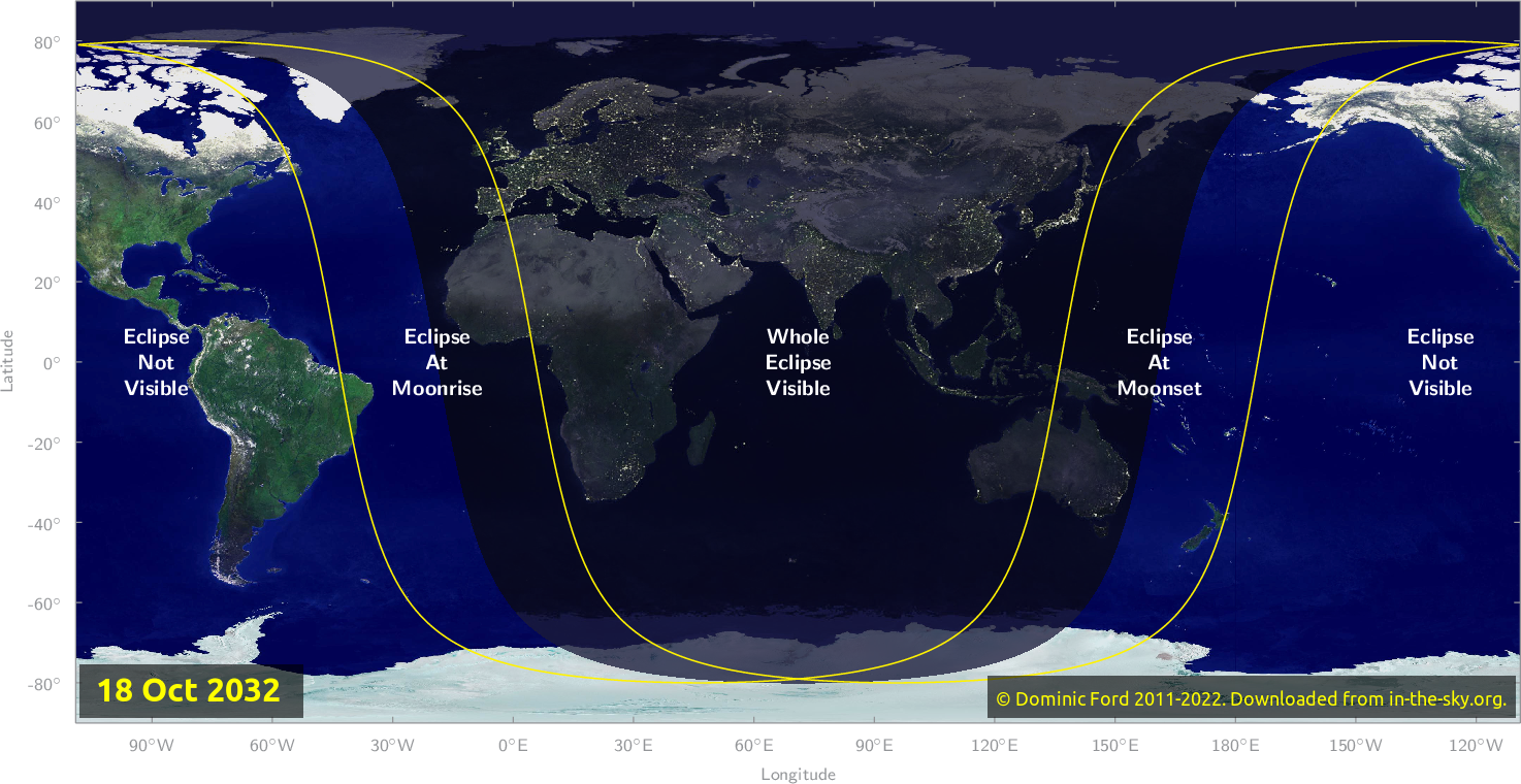 Map of where the eclipse of October 2032 will be visible.