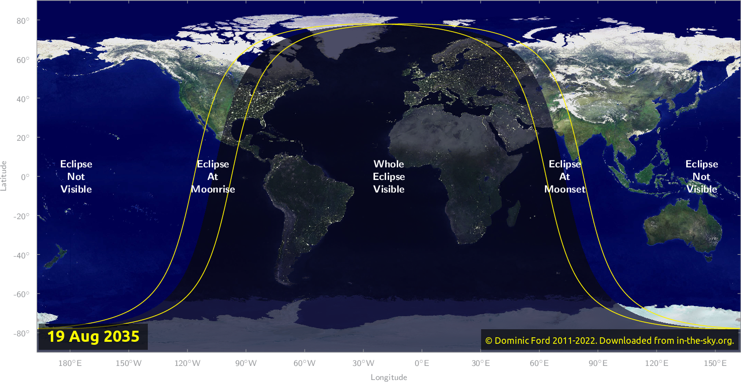 Map of where the eclipse of August 2035 will be visible.