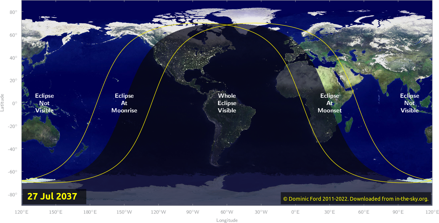Map of where the eclipse of July 2037 will be visible.