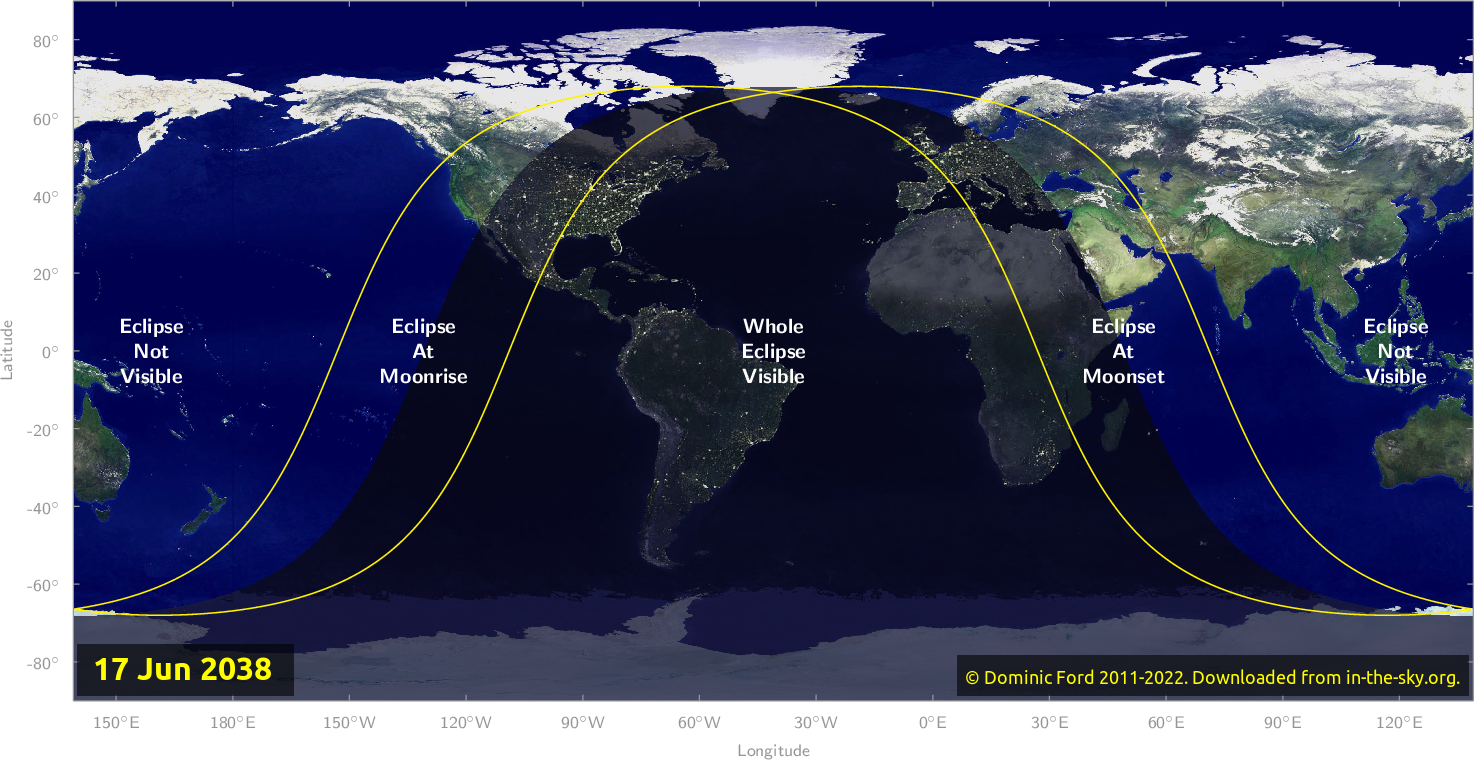 Map of where the eclipse of June 2038 will be visible.