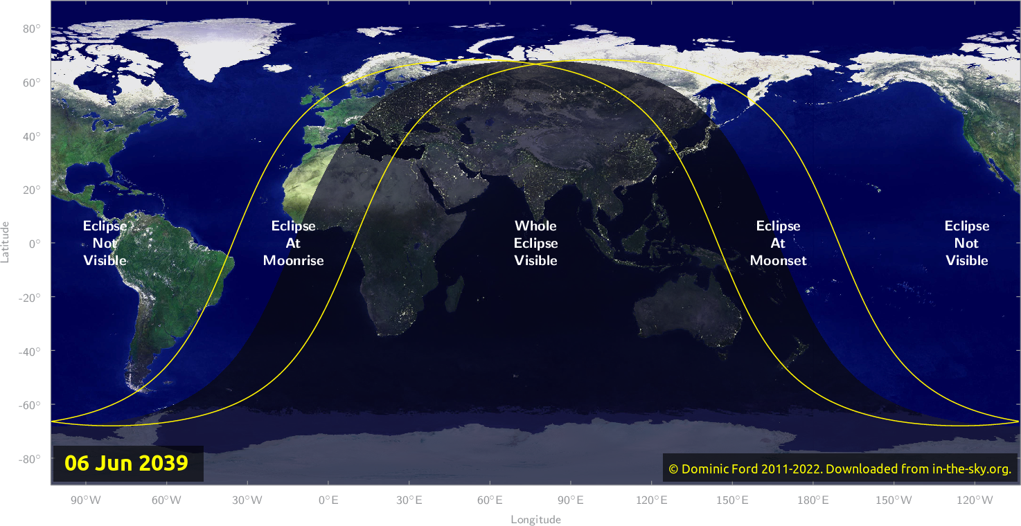 Map of where the eclipse of June 2039 will be visible.