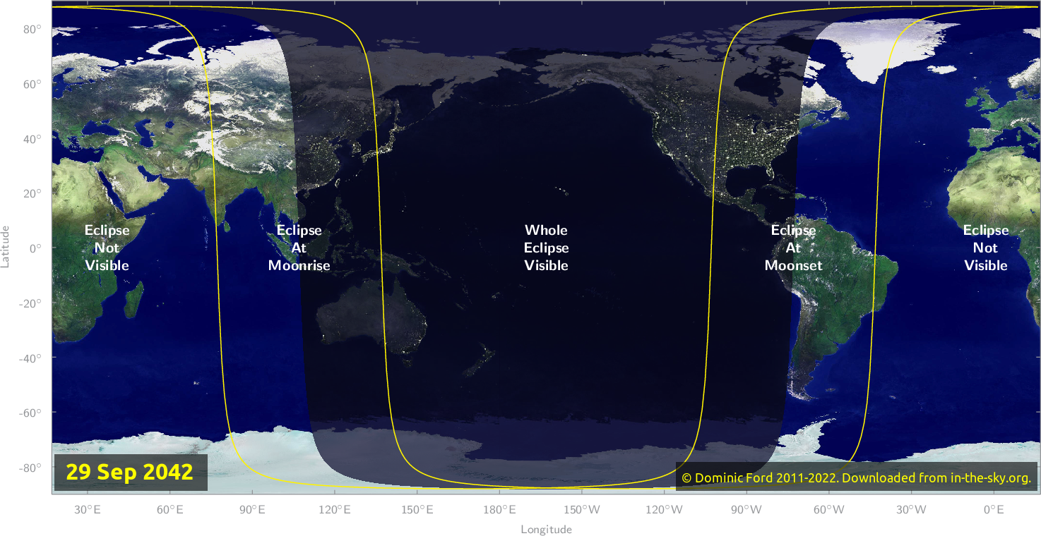 Map of where the eclipse of September 2042 will be visible.