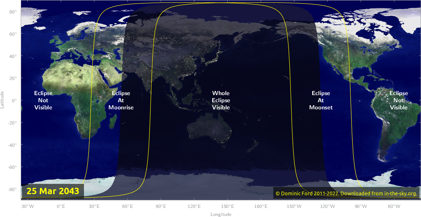 Map of where the eclipse of March 2043 will be visible.