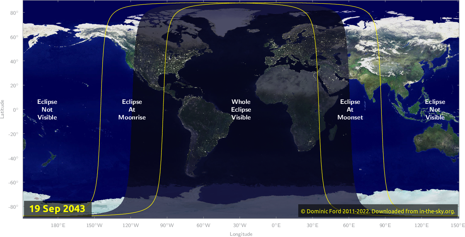 Map of where the eclipse of September 2043 will be visible.
