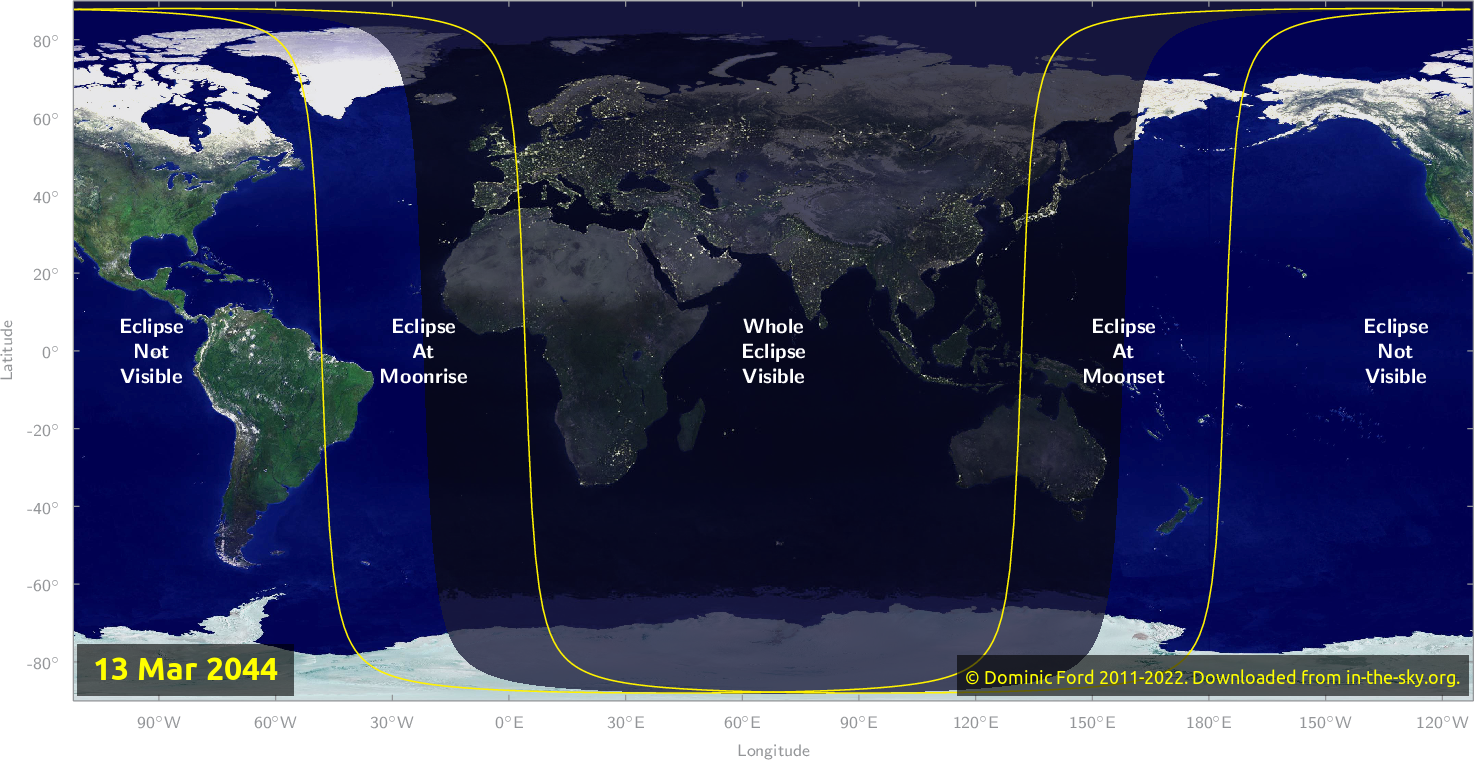 Map of where the eclipse of March 2044 will be visible.