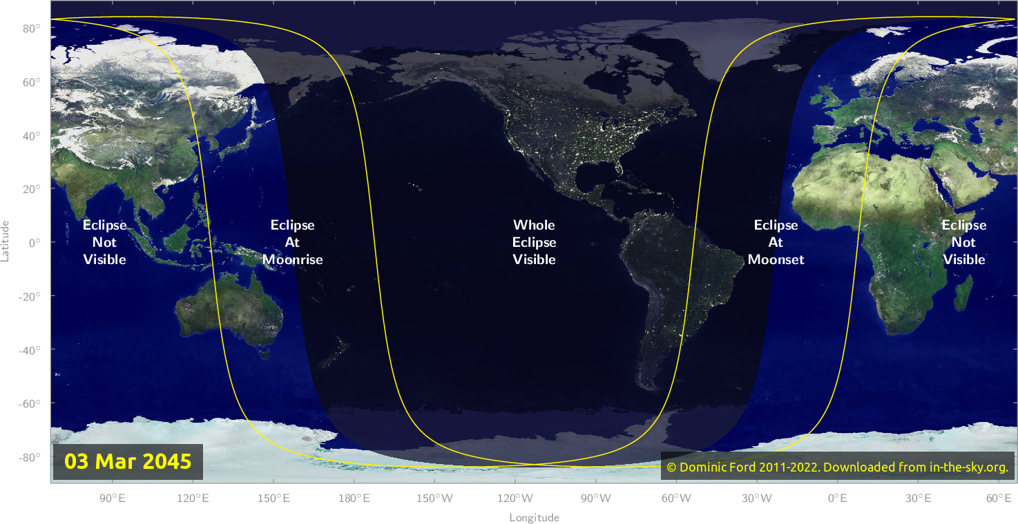 Map of where the eclipse of March 2045 will be visible.
